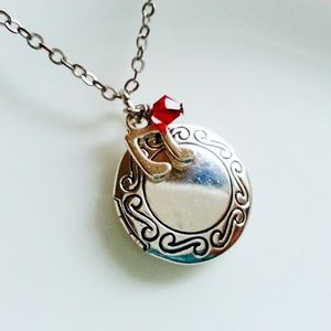 Sterling Silver Music Locket Birthstone Necklace